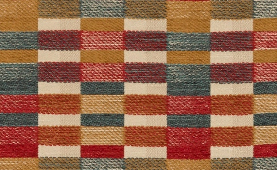Red Teal Gold Upholstery Fabric Woven Orange Teal Geometric Etsy