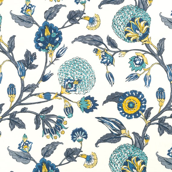 Navy Blue Yellow Floral Upholstery Fabric Custom Navy Blue Etsy