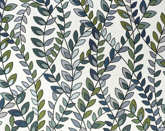 Blue Grey Leaf Upholstery Fabric for Furniture and Pillows - Contemporary Botanical Leaf Fabric - Modern Blue Green Leaf Pillows