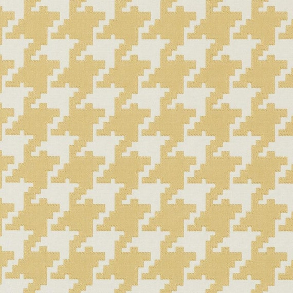 Yellow Houndstooth Upholstery Fabric Yellow Geometric Home Etsy