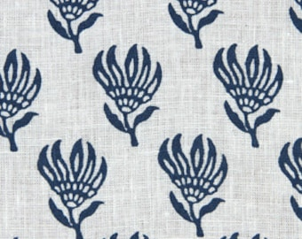 Navy Blue Floral Linen Fabric by the Yard ON SALE