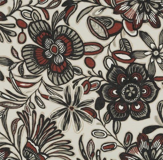 Grey Red Floral Upholstery Fabric Custom Grey Dark Red Etsy