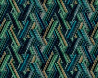 Teal Velvet Upholstery Fabric for Furniture and Pillows - Modern Peacock Blue Velvet by the Yard - Geometric Velvet Upholstery Fabric