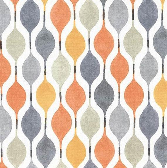 Orange Grey Geometric Upholstery Fabric Modern Yellow Grey Etsy
