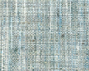 Aqua Blue Upholstery Fabric - Durable Tweed Fabric for Furniture - Aqua Blue Small Scale Fabric for Sofas Chairs Pillows