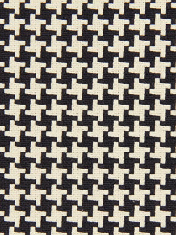 Black Woven Houndstooth Upholstery Fabric On Sale Etsy