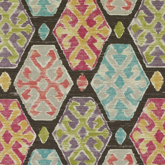 Multicolor Ikat Cotton Upholstery Fabric by the Yard Aqua | Etsy