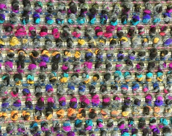 Turquoise Boucle Upholstery Fabric by the Yard - Pink Purple Woven Fabric for Furniture - Orange Grey Upholstery Fabric