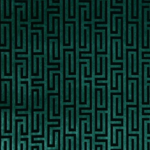 Teal Velvet Fabric Greek Key Velvet Upholstery Fabric Etsy