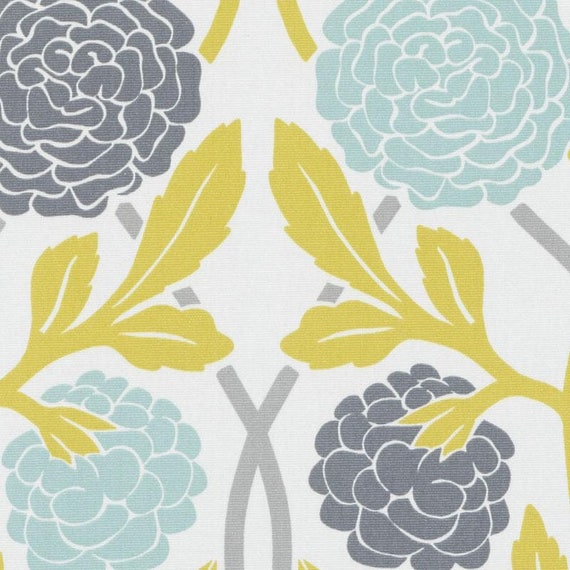 Aqua Yellow Floral Fabric Modern Aqua Blue Grey Floral Etsy