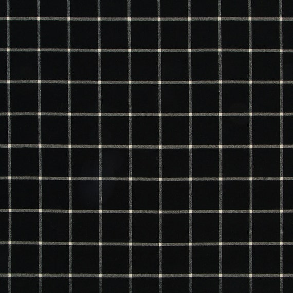 Black White Large Scale Plaid Upholstery Fabric 54 Inch Etsy
