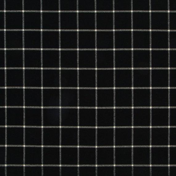 Black White Large Scale Plaid Upholstery Fabric 54 Inch Etsy