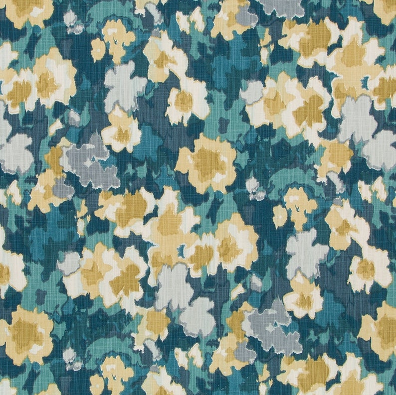 Teal Gold Upholstery Curtain Fabric By The Yard Custom Green Gold Floral Curtains Drapery Custom Gold Teal Floral Pillows 5 Colors