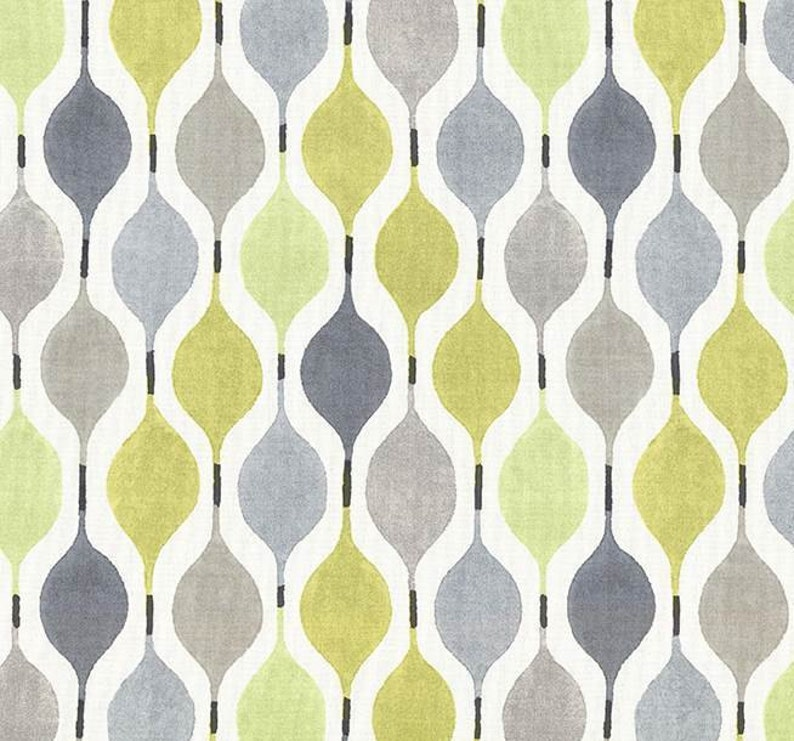 Yellow Grey Geometric Cotton Home Decor Fabric Modern Lime Etsy