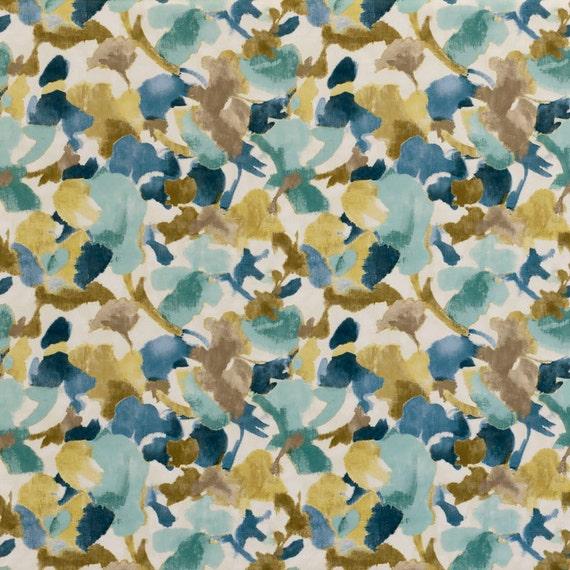 Navy Blue Yellow Floral Velvet Upholstery Fabric Navy Blue Etsy