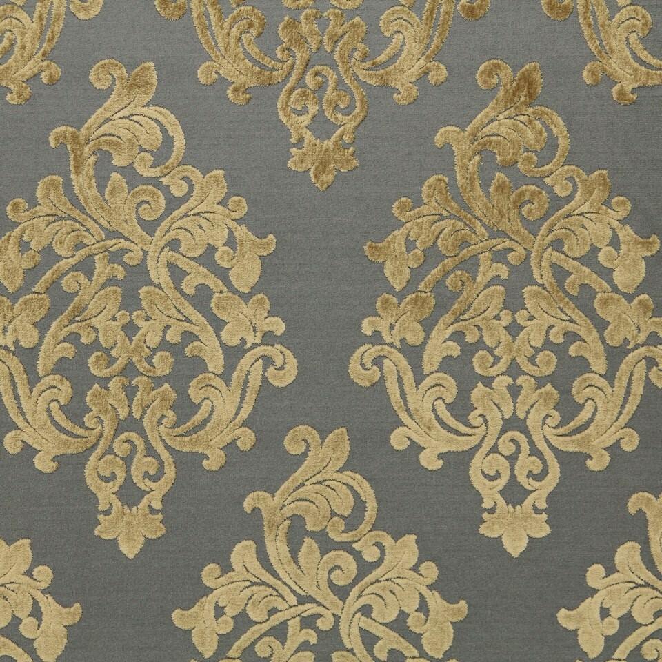 Grey Velvet Damask Upholstery Fabric Large Scale Velvet Etsy