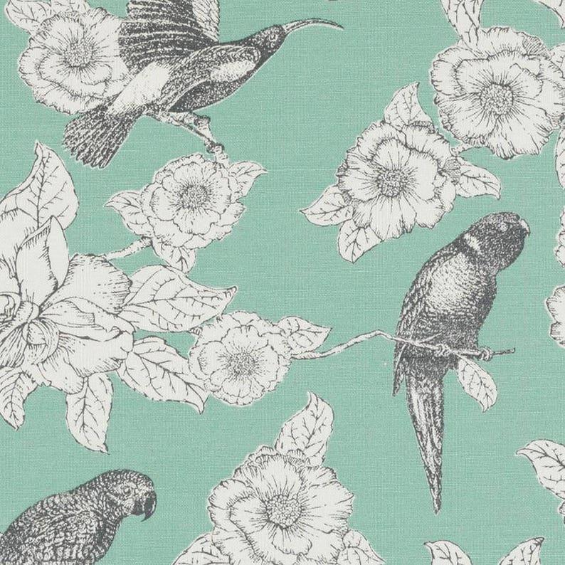 Mint Green Bird Upholstery Fabric Dark Grey Bird Curtains Etsy