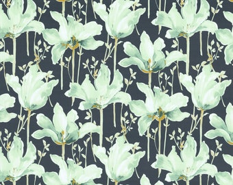 Mint Green Floral Upholstery Drapery Fabric by the Yard - Modern Floral Fabric - Artistic Floral Fabric for Pillows and Headboards