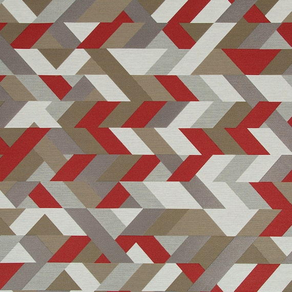 Red Grey Geometric Upholstery Fabric   Modern Red Taupe Ottoman Pouf Fabric    Heavy Duty Kitchen Chair Fabric   Red White Geometric Pillows From ...