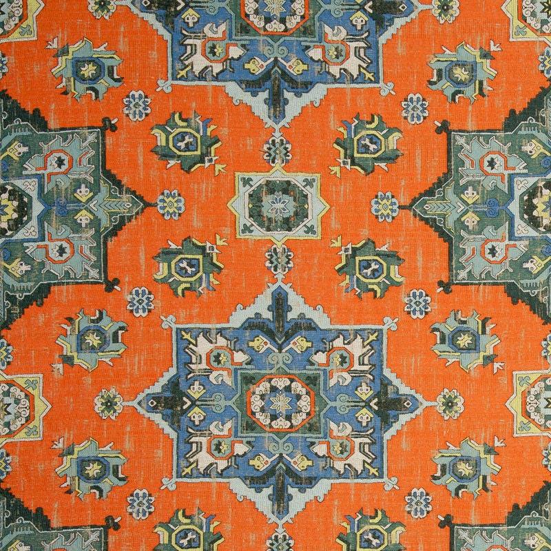 Orange Orange Orange Blue Woven Tapestry Upholstery Fabric - Textured Blue Grey Medallion Fabric for Furniture - Modern Dark Orange Ikat Throw Pillows e40ed5