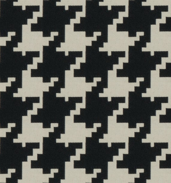 Black Houndstooth Upholstery Fabric For Furniture Black Etsy