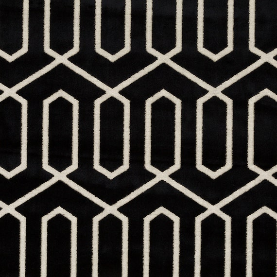 Black And White Geometric Velvet Upholstery Fabric Modern Etsy
