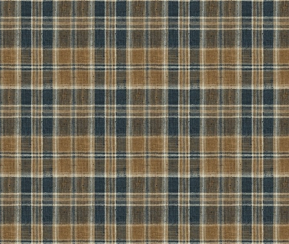 Navy Blue Plaid Upholstery Fabric For Furniture Modern Etsy