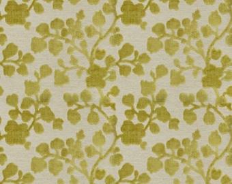 Chartreuse Floral Velvet Upholstery Fabric - Raised Velvet Fabric for Furniture - Heavyweight Fabric - Chartreuse Velvet Pillow Fabric