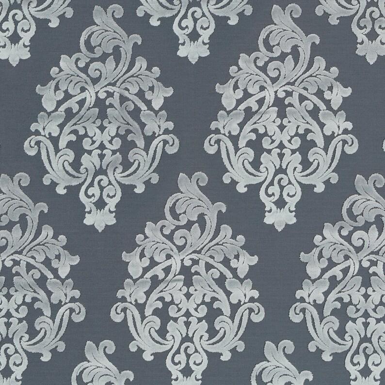 Dark Grey Damask Upholstery Fabric Silver Grey Velvet For Etsy