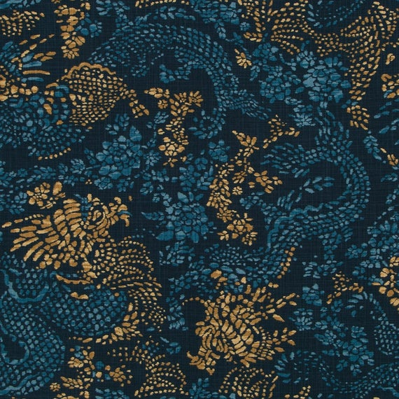 navy gold upholstery fabric modern dark blue animal dragon etsy