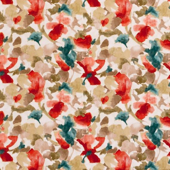 Teal Red Floral Velvet Upholstery Fabric Teal Velvet Floral Etsy