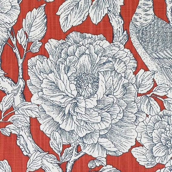 Red Floral Fabric Modern Navy Blue Red Floral Upholstery Etsy