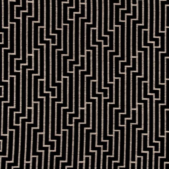 Black And Grey Geometric Velvet Upholstery Fabric For Etsy