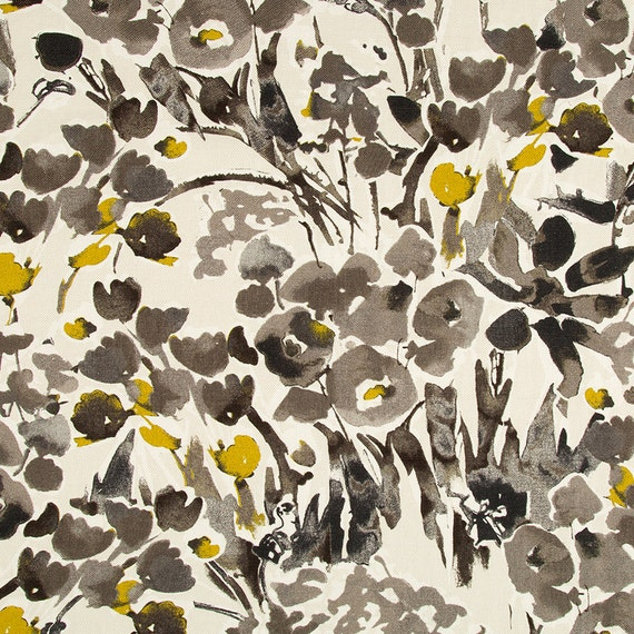 Grey Yellow Floral Upholstery Fabric Digital Print Fabric Etsy