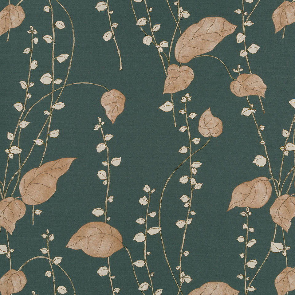 Dark Green Upholstery Fabric Forest Green Floral Drapery Etsy