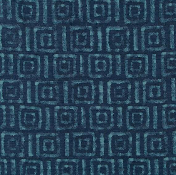 Blue Batik Upholstery Fabric Modern Navy Blue Greek Key Etsy