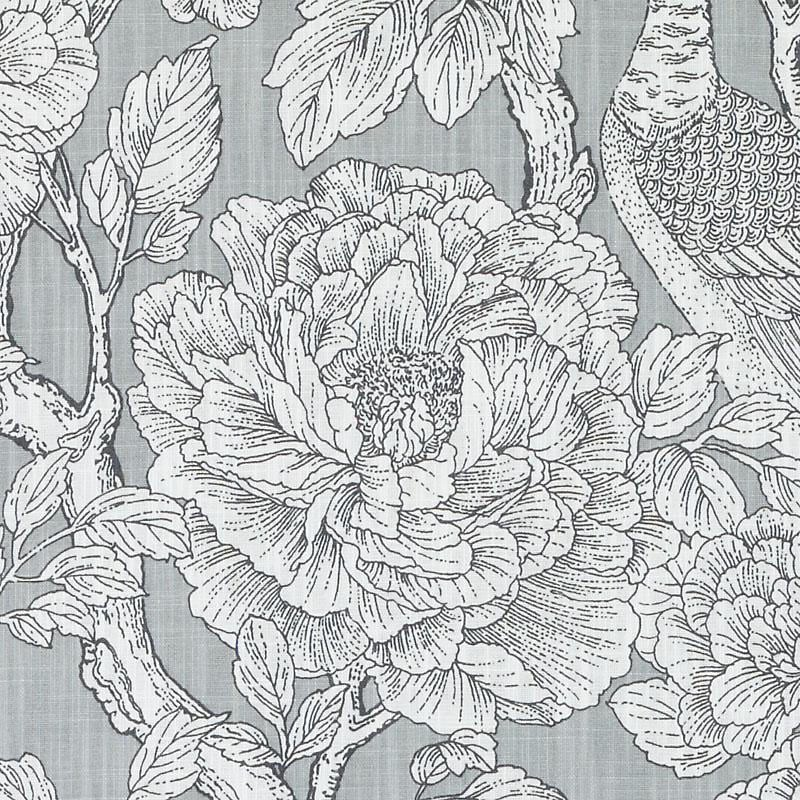 Grey Floral Fabric Modern Black White Floral Upholstery