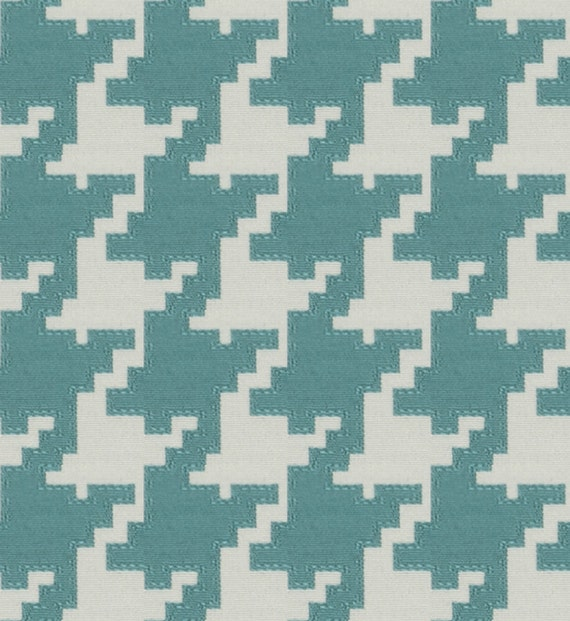 Turquoise Houndstooth Upholstery Fabric Large Scale Etsy