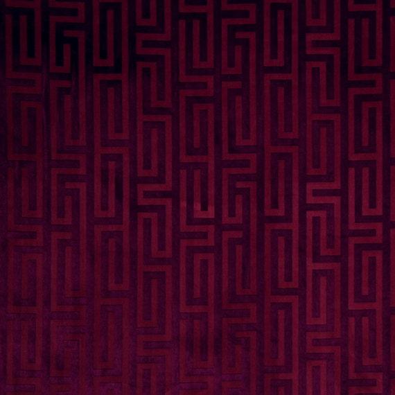 Fuchsia Greek Key Velvet Upholstery Fabric Contemporary Dark Etsy