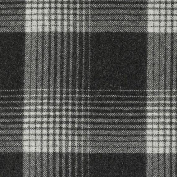 Dark Grey Wool Plaid Upholstery Fabric Black Ivory Large Etsy