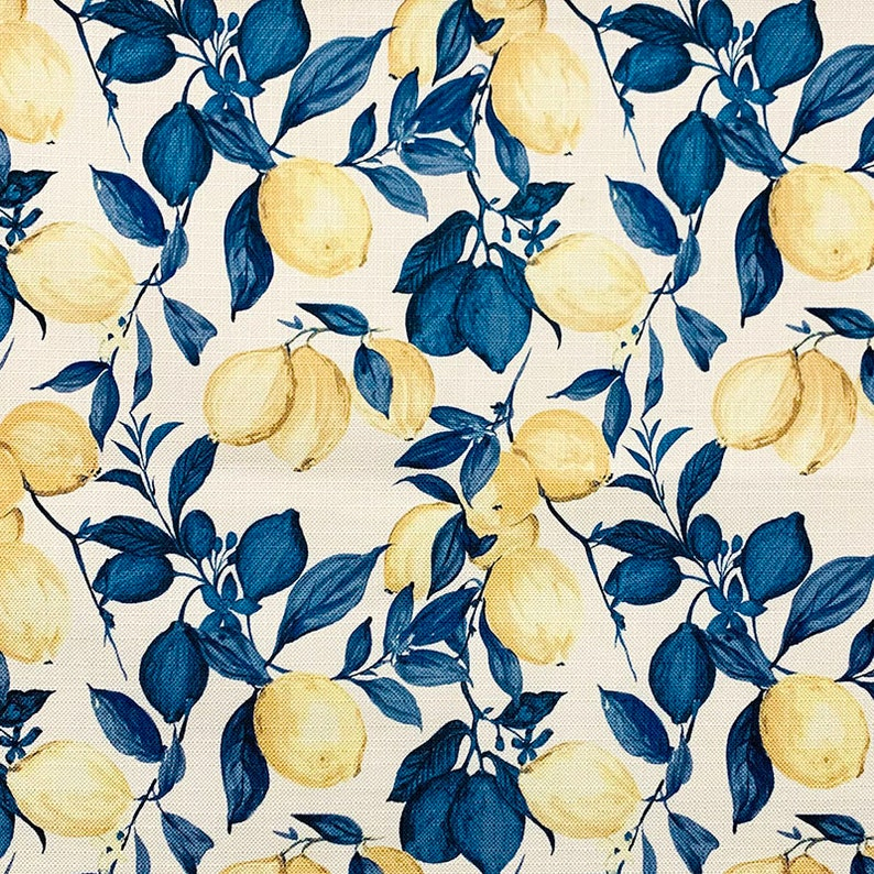 Blue Yellow Upholstery Fabric  Modern Blue Fabric with Yellow image 0
