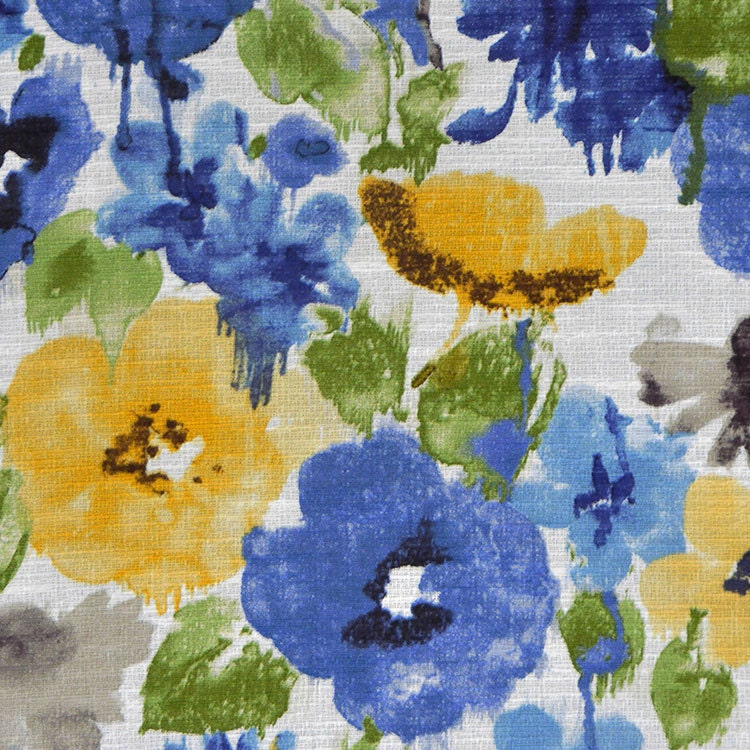 Royal Blue Watercolor Floral Upholstery Fabric Green Yellow Etsy