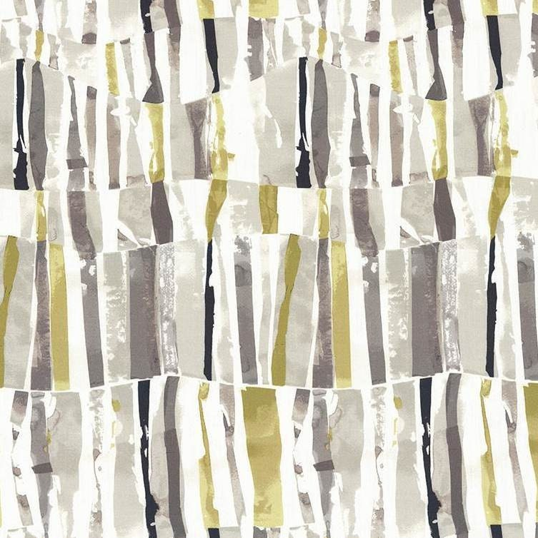 Yellow Grey Abstract Fabric By The Yard Modern Charcoal