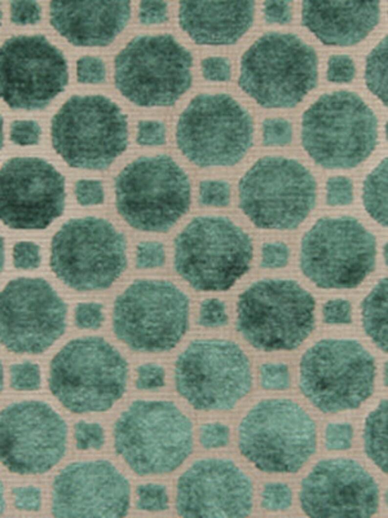Custom Dark Green Velvet Pillow Polka Dot Fabric Emerald Green Velvet by the Yard Dark Green Geometric Upholstery Fabric 2 Colors