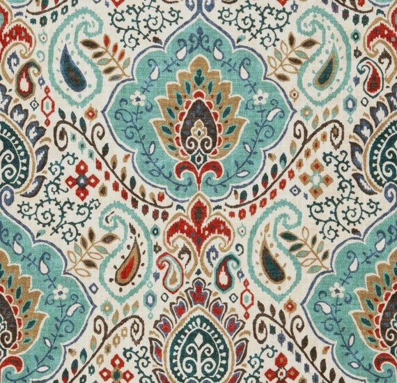 Teal Red Paisley Upholstery Fabric Custom Teal Red Grey Etsy