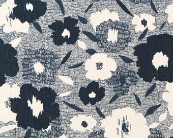 Navy Blue Floral Upholstery Fabric ON SALE