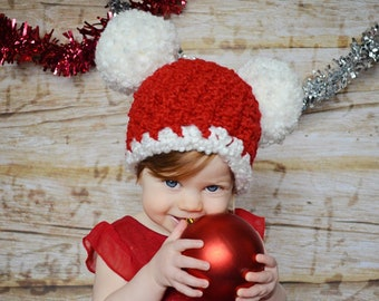 All Sizes Christmas Baby Santa Hat Baby Hat Toddler Girl Ladies Women Pom  Pom Candy Cane Red White Christmas Photo Props Fun Holiday Beanie a6bec8b92fb5