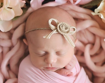 Fall Burnt Orange Flower Baby Headband {natural tie back newborn photography prop rust color newborn tie back}