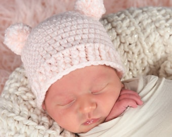 e2830bd1201 Newborn Baby Girl Hat 35 Colors Newborn Photo Shoot Photography Props Pom  Pom Hat Baby Bear Hospital Hat for Coming Home Outfit Pale Pink