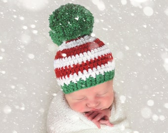931683d26a05e All Sizes Christmas Beanie Red Green White Giant Pom Pom Hat Baby Boy  Toddler Girl Child Adult Ladies Womens Sizes Newborn Photo Prop Xmas